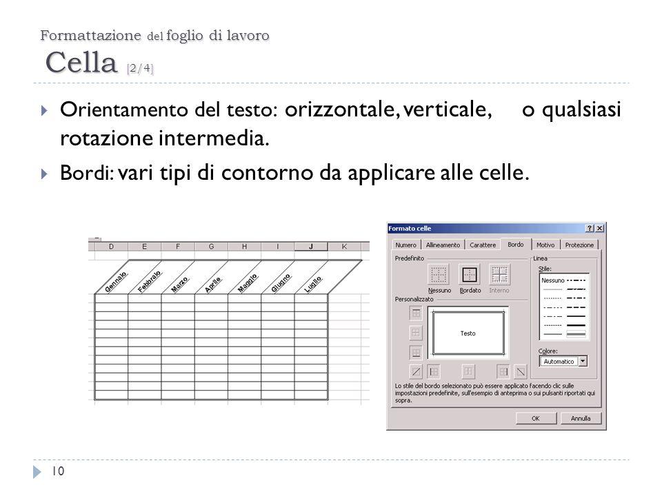 Formattazione del foglio di lavoro Cella [2/4]